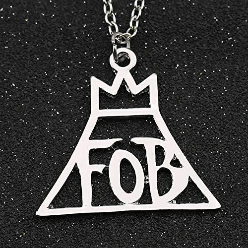 YUNMENG Fall out Boy Collana Rock Band FOB Lettera Corona Logo Patrick Stump Ciondolo Color Argento Moda Gioielli Caldi Uomo Donna