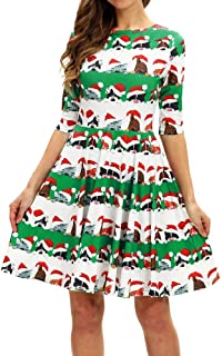 Dunacifa Women Christmas Halloween Short Sleeve O-Neck Dress Party Costume Dress Mini Dresses
