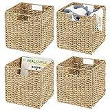 mDesign Juego de 4 cajas de almacenaje – Cajas organizadoras plegables hechas...