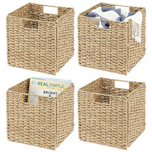 mDesign Juego de 4 cajas de almacenaje – Cajas organizadoras plegables hechas de junco marino – Cestas de almacenaje con patrón trenzado – Ideales para estanterías cuadradas – color bambú