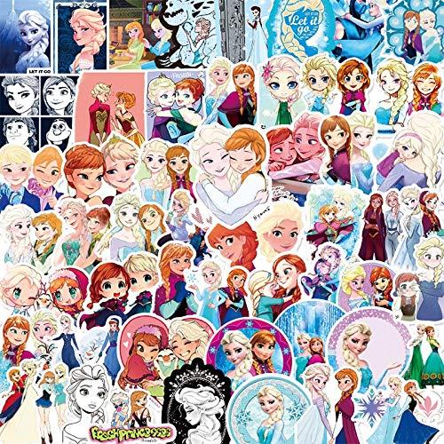 LVLUO Pegatinas de Disney a Prueba de Agua con Dibujos Animados de Princesa, Pegatina para Equipaje de Guitarra, monopatín, portátil, Bicicleta, Juguetes para niños, 50 Uds.