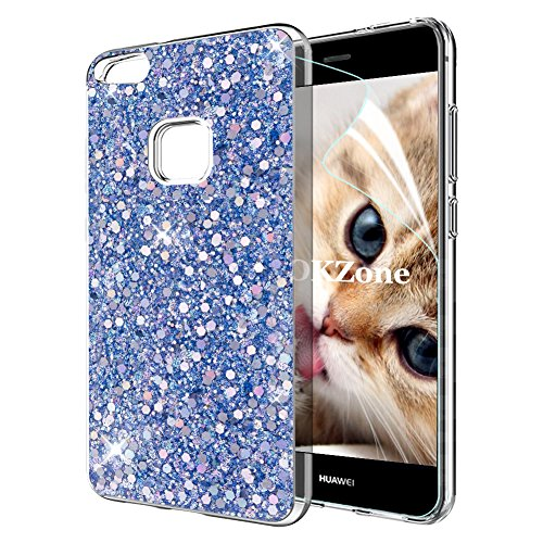 OKZone Funda Huawei P10 Lite Carcasa Purpurina, Cárcasa Brilla Glitter Brillante TPU Silicona Teléfono Smartphone Funda Móvil Case [Protección a Pantalla y Cámara] para Huawei P10 Lite (Azul)