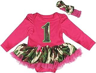 Camo 1st Hot Pink L/s Bodysuit Camouflage Tutu Baby Dress Nb-18m