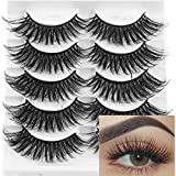 3D Mink False Eyelashes Full Strips Thick Cross Long Lashes Wispy Fluffy Eye Makeup Tools 5 Pairs (Q3)