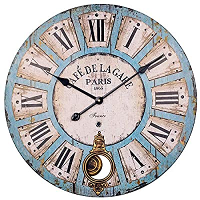 Pendulum Wall Clock, 24-Inch Large Vintage Paris Decorative Grandfather Clock with Roman Numerals, Silent Wooden Indoor Swinging Clock for Home, Living Room, Dining Room, Farmhouse, Restaurant (Blue)
