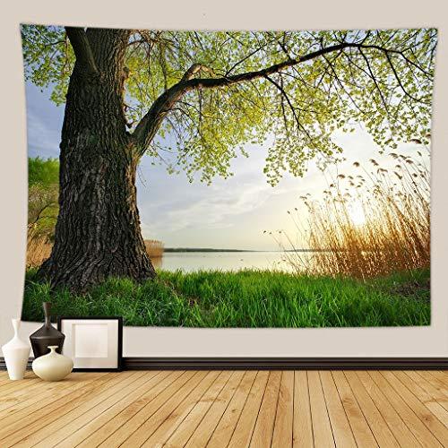 KHKJ Verde Bosque árbol tapices para Colgar en la Pared Mandala Corriente Natural Flor Dormitorio decoración de la Pared Manta de campingDropshipping A25 200x180cm