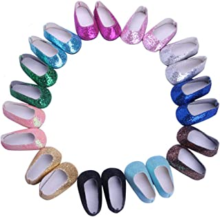 Luckdoll Doll Shoes 10Pcs Doll Shoes fits for 18inch American Girl Doll, My Life Doll
