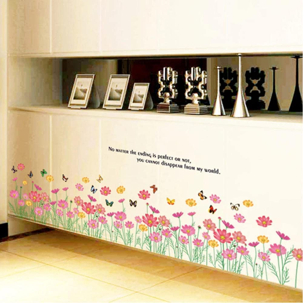 Baseboard 3D Popular Raleigh Mall standard Pink Small Flowers Stickers Wall Removab Waterproof