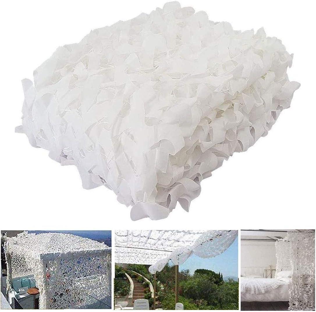 Filet de Camouflage Blanc en Maille,Camouflage Net Militaire Renforce,Pare-Soleil,Voile Dombrage de 210D oxford Polyester,Toile Dombrage pour Jardin,Patio,Ext/érieure,Customize 1.5x6m//5x20ft