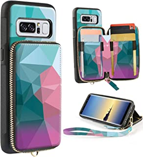 ZVE Samsung Galaxy Note8 Case, Galaxy Note8 Wallet Case with Credit Card Holder Zipper Handbag Purse Wrist Strap Print Protective Case Cover for Samsung Galaxy Note 8 (2017), 6.3 inch - Diamond