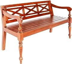 vidaXL Solid Mahogany Wood Batavia Bench Indoor 3 Person Armchair Backyard Lounge Seating 136cm Home Furniture Dark Brown