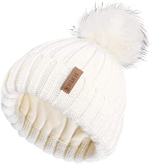 Womens Winter Knitted Beanie Hat with Faux Fur Pom Fleece Lined Warm Beanie for Women