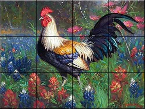 Cerámica de azulejos - Gallo 2 - MK-por Mark Keathly - salpicaduras de la cocina / baño de ducha