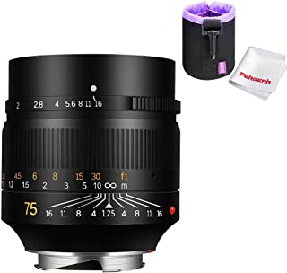 7artisans 75mm F1.25 Full Frame Manual Fixed Lens for Leica M-Mount Cameras Leica M-M M240 M3 M6 M7 M8 M9 M9p M10, W Lens Pouch Bag