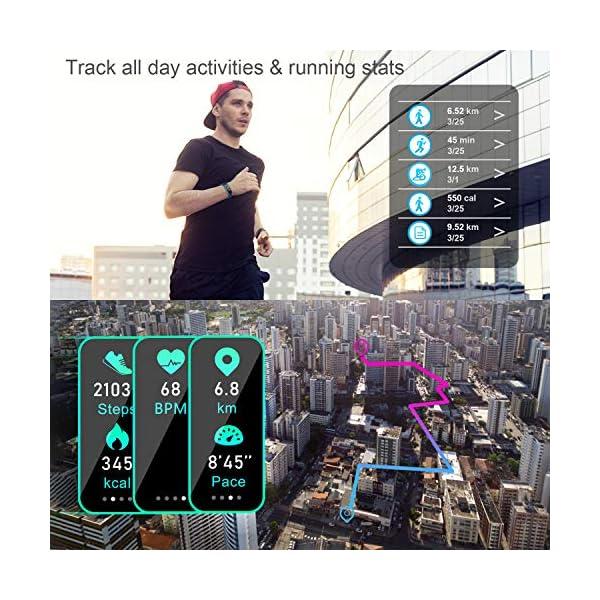 LETSCOM High End Fitness Trackers HR, IP68 Reloj de fitness impermeable con monitor de ritmo cardíaco, contador de pasos… 3