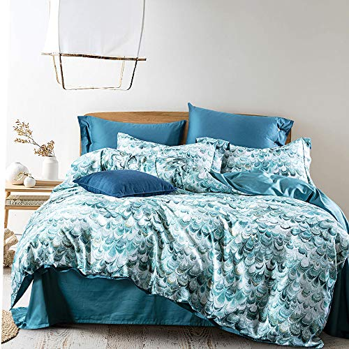 SOULFUL 100% Egyptian Cotton Duvet Cover Set King- 3pcs Printed Bedding Set, Ultra Soft Floral Pattern Quilt Cover Set(230x220cm, Peacock)