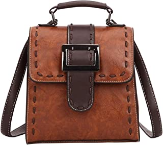 Happy-L Handbags New Fashion Ladies Retro Locomotive Leather Square Backpack College Wind Student Travel Backpack (Color : Brown, Size : 21 * 8 * 21cm)