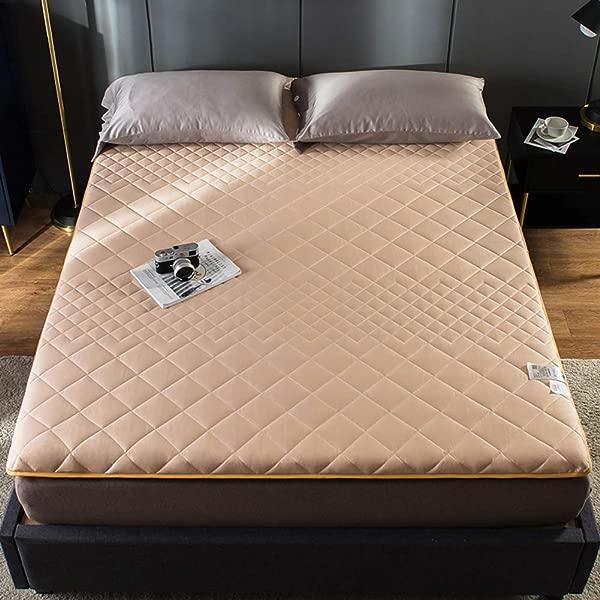 Zhang Premium Thick Mattress Pad Japanese Futon Matt Mat Sleeping Quilted Fitted Mattress For Student Dormitory Home Light Tan King 71x79inch
