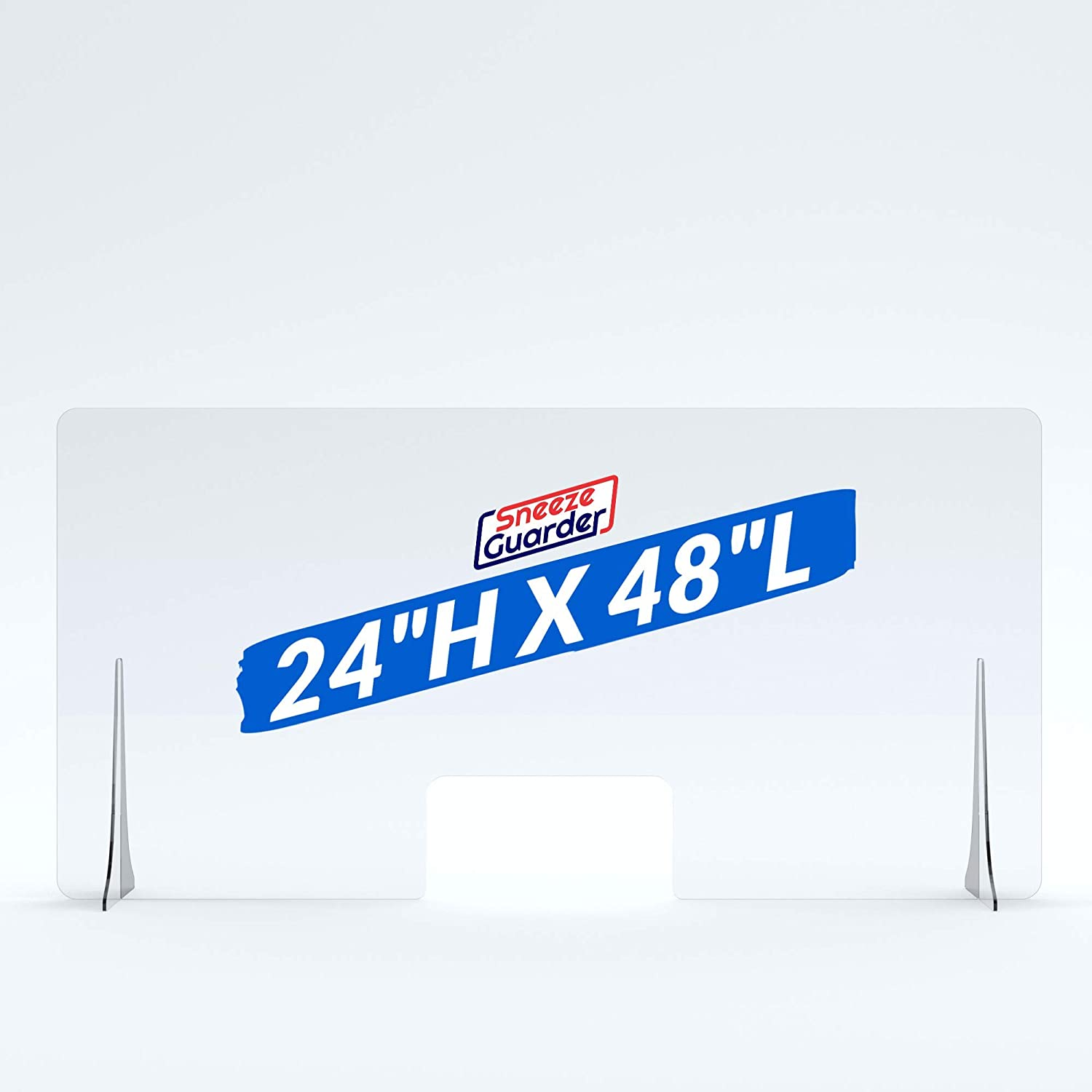 """20+ Sizes Available 48x30 Ships Fast 48/""""L x 30/""""H XL 30/""""H x 48/""""L Plexiglass Sneeze Guard for Desk Counter with Double-Side Tape Base Stabilizers"""