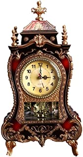 Clock European Table Clock, Antique Table Clock, Living Room Decoration Clock, Silent Sweep Stopwatch For home (Color : Br...