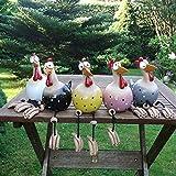 Milont Gartendekoration aus Keramik, in Form eines Huhns, dekorativ, lustig, Dekoration für den Garten, Hähnchenhof, Gartenfigur