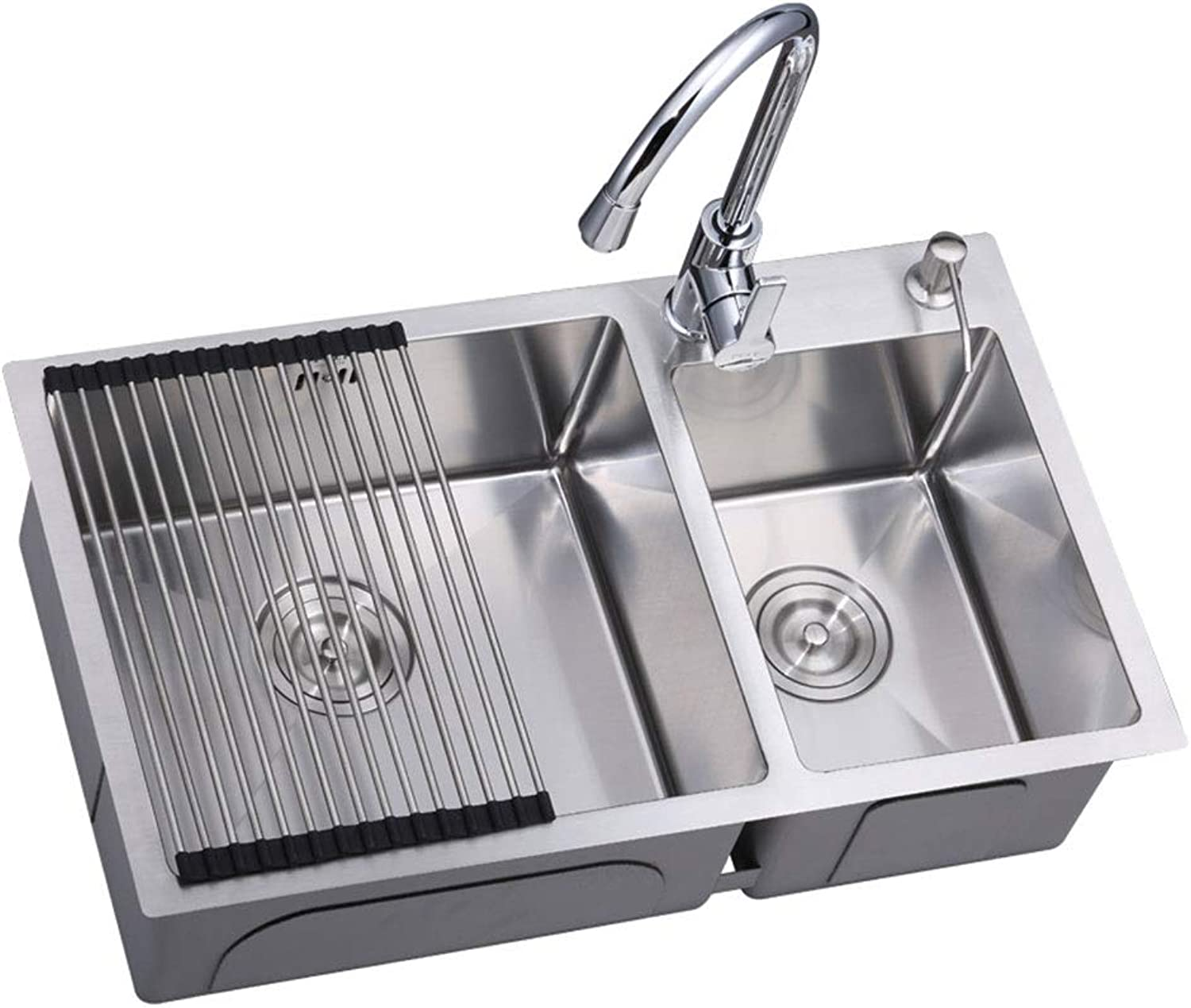 3mm Single Kitchen Sink 304 Stainless Steel Kitchen Sink Single Slot Dish Basin With Drain Basket Drain Pipe 0423 (Size   720X400cm)
