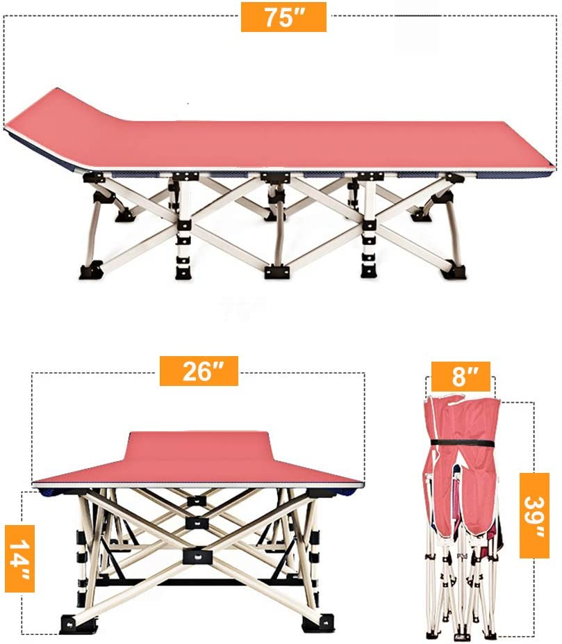 H/&ZT Updated Folding Camping Cots for Adults,Heavy Duty Sleeping Cots Suits People Weighting 600 Pounds Including A Carrying Bag.