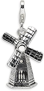 925 Sterling Silver Rh 3 D Moveable Windmill Lobster Clasp Pendant Charm Necklace Travel Transportation Fine Jewelry For W...