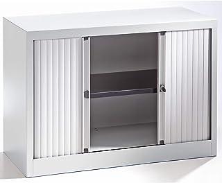Bisley Armoire à rideaux Euro, largeur 1000 mm, 1 tablette, gris clair - Armoire Armoire métallique Armoire à rideaux Armo...