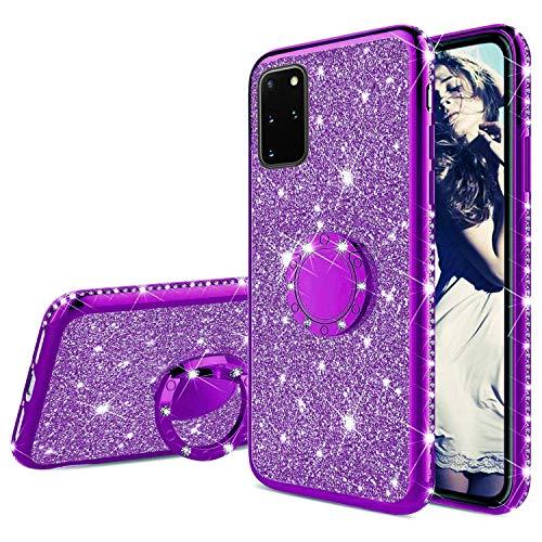 Misstars Glitzer Hülle für Galaxy S20 Plus Lila, Bling Strass Diamant Weiche TPU Silikon Handyhülle Anti-Rutsch Kratzfest Schutzhülle mit 360 Grad Ring Ständer für Samsung Galaxy S20 Plus