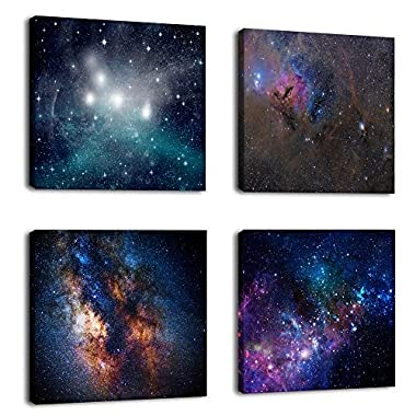Natural art –Outer Space Starlight Wall Painting Prints on Canvas Wall Decoration Wooden Frames Canvas 4pcs/set