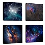 FUNHUA Outer Space Starlight Wall Painting Prints on Canvas Wall Decoration Wooden Frames Canvas 4pcs/set 12 x 12 Inches