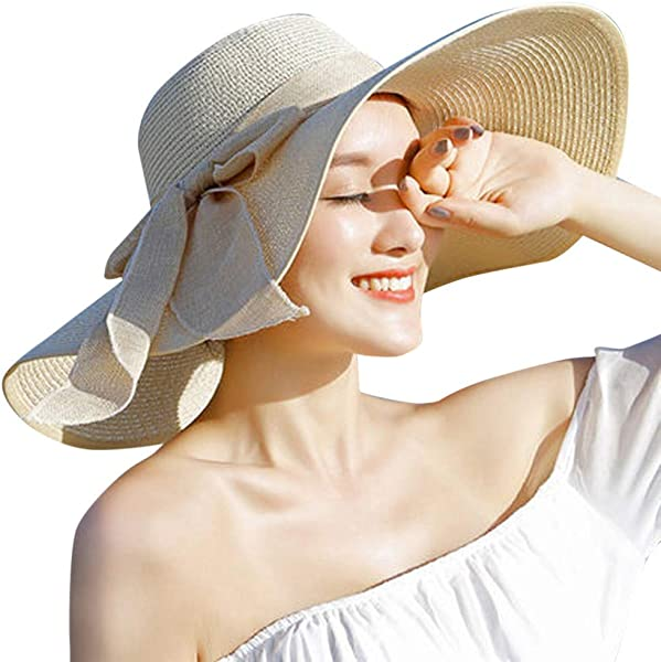 Dunacifa Women Big Brim Straw Hat Sun Floppy Wide Brim Hats New Bowknot Folding Beach Cap Summer Sun Hat