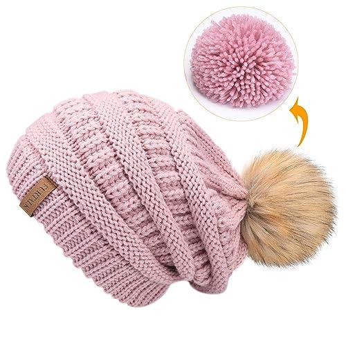 c14bdea63764da FURTALK Womens Slouchy Winter Knit Beanie Hats Chunky Hat Bobble Hat Ski Cap
