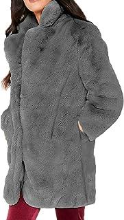 OTW Womens Outwear Winter Pockets Overcoat Faux Fur Open Front Jacket