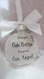 Our Baby Memorial Ornament with Angel Wing Charm In Memory of Infant Loss