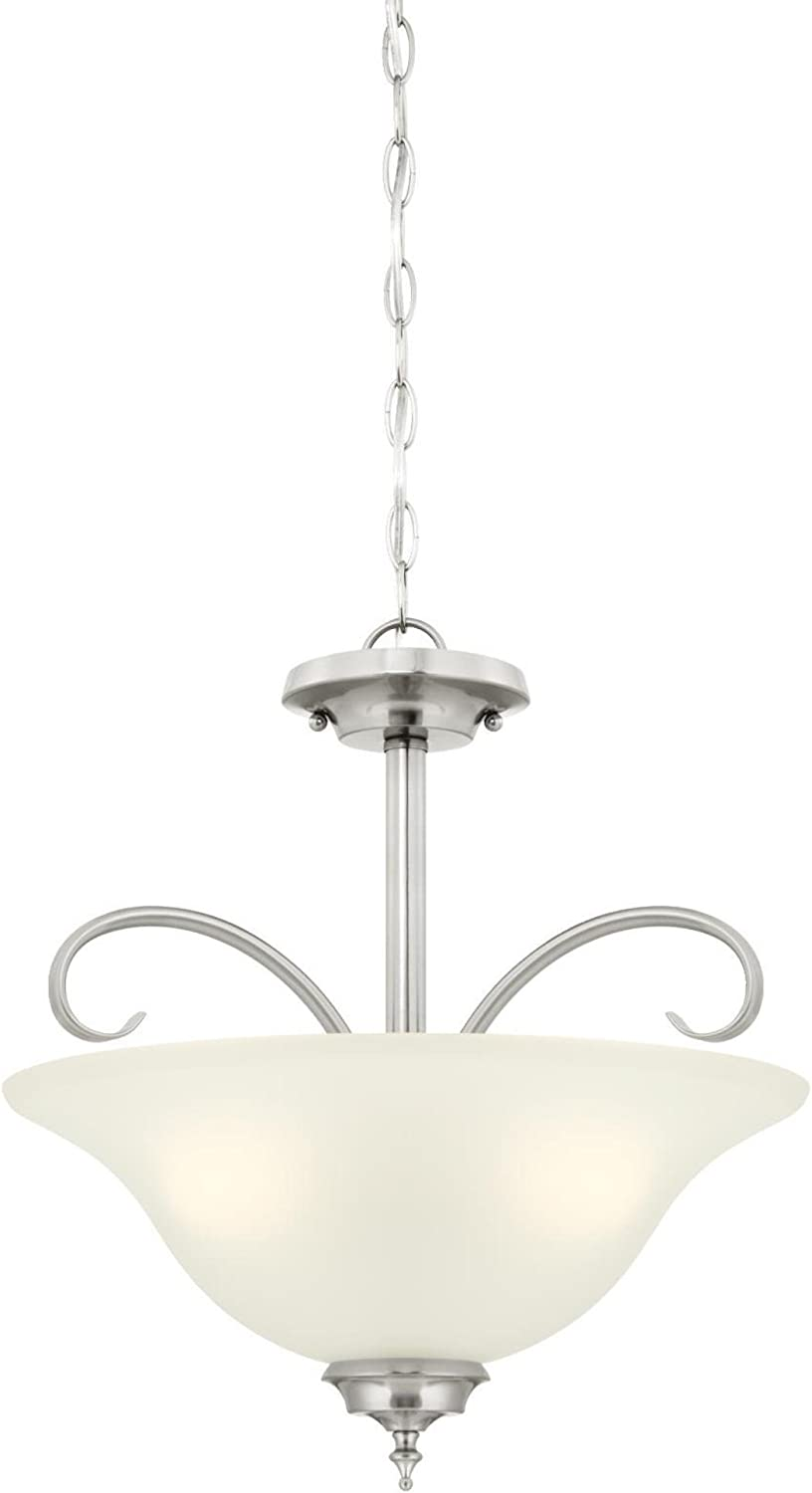 Westinghouse Lighting 6305400 Harwell Three-Light Indoor Congreenible Pendant Semi-Flush Ceiling Fixture, Brushed Nickel Finish with Frosted Glass,