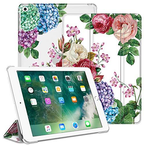 FINTIE Funda para iPad 9.7 (2018/2017), iPad Air 2, iPad Air - Trasera Transparente Carcasa Ligera con Función de Soporte y Auto-Reposo/Activación, Festival de Flores