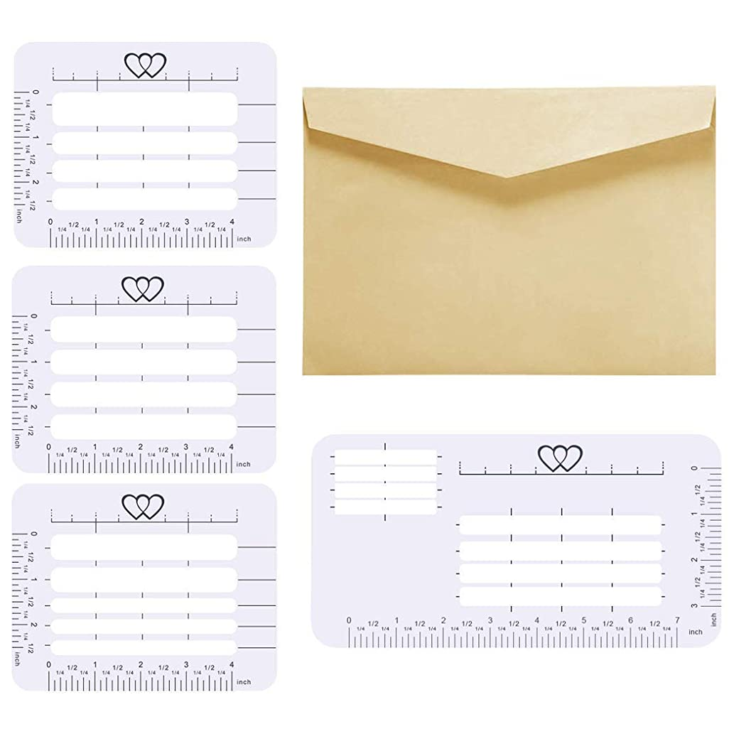 4Pcs 4 Style Envelope Addressing Stencil Template Ruler Guide Fits Wide Range of Envelopes, Writing, Sewing, Wedding Invitations, Thank You Notes, Mother's Day, Holiday Cards and DIY Labels