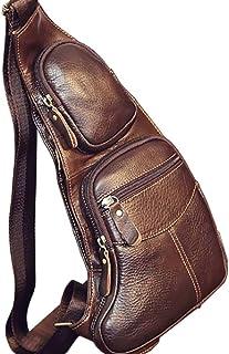 Chest Backpack,Sling Bag,Vintage Leather for Men Crossbody Shoulder Daypack Outdoor Travel Camping Tactical Daypack