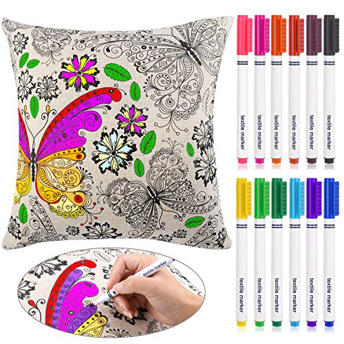 HOWAF Colouring Cushion Cover with Fabric Marker Pens for Kids Doodle Graffiti Drawing, Linen Cotton Butterfly Flowers Pillowcase, 12 Colors Washable Textile Marker Pens