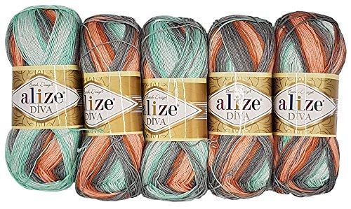 Alize 5 x 100 Gramm Diva Batik Wolle Mehrfarbig mit Farbverlauf, 500 Gramm merzerisierte Strickwolle Microfiber-Acryl (lachs grau Mint 5550)