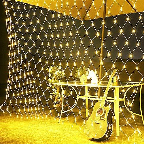 100er LED Lichternetz außen Solar,1.5m x 1.5m,Netz Mesh Baumwickel Beleuchtung Lichtervorhang Lichterkette Deko Leuchte für Weihnachten Hochzeit Hintergrund Camping Strand Restaurant Schule-Warmweiß