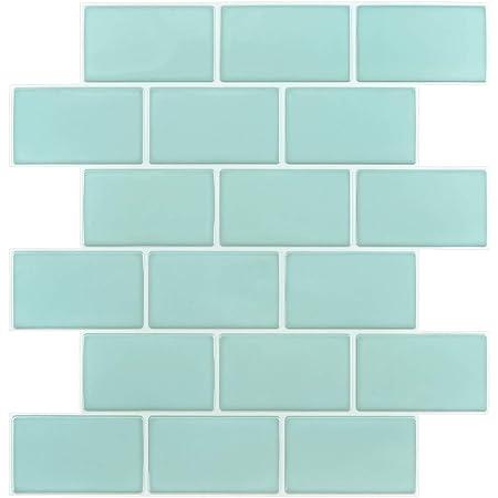 """10-Sheet Peel and Stick Backsplash Tile Sticker, Teal 12""""x12"""" (Thicker Design)"""