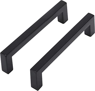 Tysun 15 Pack Square Kitchen Cabinet Pulls Matte Black, Dresser Drawer Pulls Kitchen Cabinet Handles Stainless Steel Bathroom Cupboard Handles 3-3/4 Inch