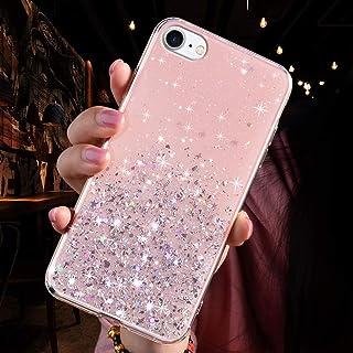 JAWSEU Glitzer skal för iPhone 8, iPhone 7 skal glänsande glitter bling stjärna transparent mjuk silikon mobilskal TPU stö...