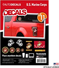 United States Marine Corps - 11 Piece USMC Licensed Stickers for Car Truck Windows, Phones, Tablets, Laptops - Large Military Decals from .5