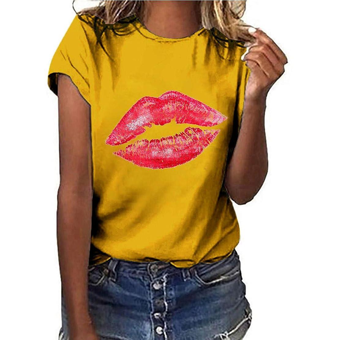 繊毛無駄なサークルTシャツ レディース 半袖 おおきいサイズ 唇プリント ラウンドネック ビジネス 学生 洋服 お出かけ ワイシャツ 流行り ブラウス 軽い 柔らかい かっこいい カジュアル シンプル オシャレ 春夏 対応 可愛い 欧米風 日韓風