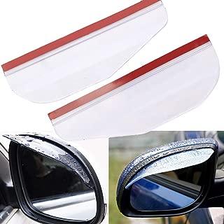 Casavidas 2Pcs Flexible PVC Car Rearview Mirror Rain Shield Guard Rainproof Eyebrow White Universal