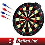 BETTERLINE Soft Tip Dart Board Game Set - 15 inch Board (37.5cm) with 6 Darts - Child & Furniture Safe Dartboard for Kids & Adults